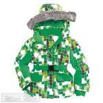 """Bornino """"Stella"""" zöld kockás, szőrmés kapucnis téli kabát. Két méretben"""