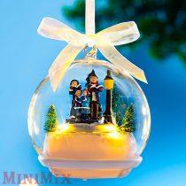 Karácsonyi zenélő,világító üveggömb